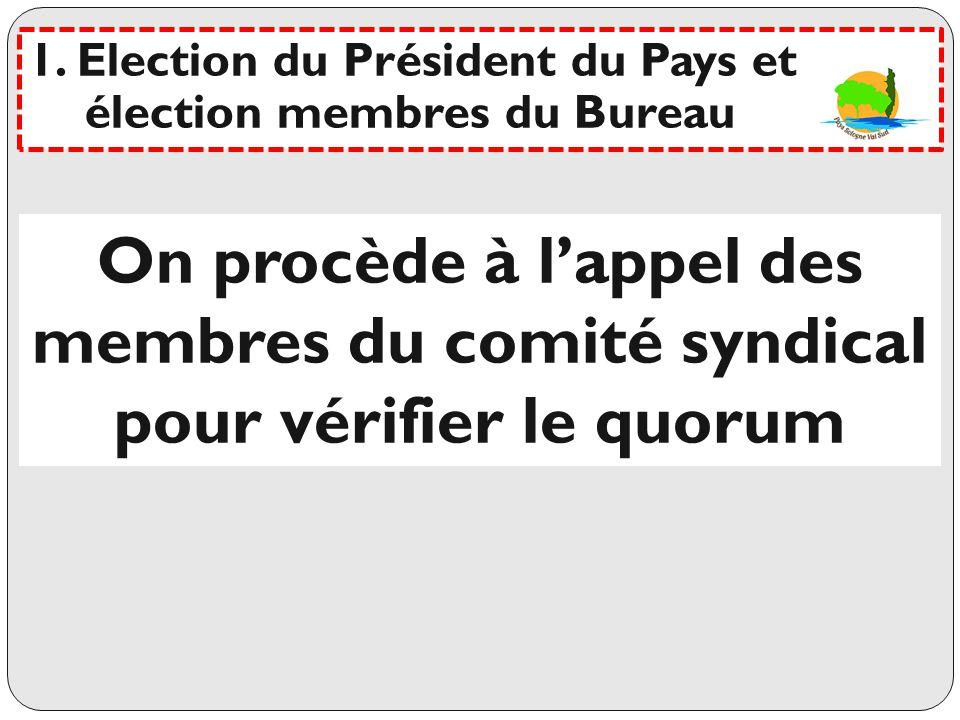 Election des 4 membres Déclaration des candidats Les votants sont appelés nominativement Dépouillement Résultat :- - -- - 1.