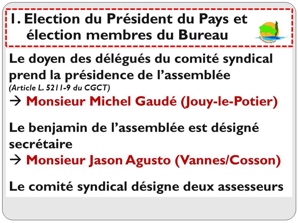 Statuts Article 7 : composition du Bureau Le comité élit parmi ses membres, dans les conditions prévues à larticle L 5211-10 du Code Général des Collectivités Territoriales, un bureau comprenant : -1 président -3 vice-présidents -1 secrétaire -4 membres ----------------------------------------------------------------------------------- Seuls les délégués votants peuvent faire parti du Bureau 1.