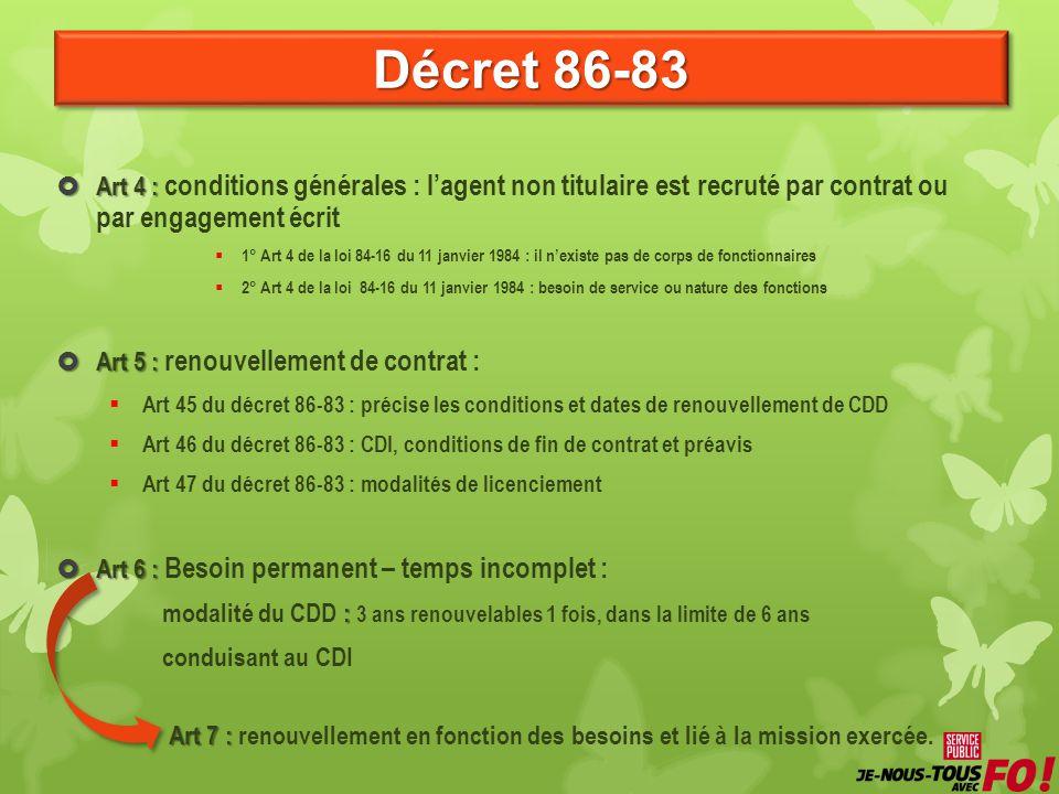 Décret 86-83 Art 4 : Art 4 : conditions générales : lagent non titulaire est recruté par contrat ou par engagement écrit 1° Art 4 de la loi 84-16 du 1
