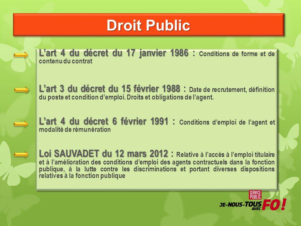 Droit Public Lart 4 du décret du 17 janvier 1986 Lart 4 du décret du 17 janvier 1986 : Conditions de forme et de contenu du contrat Lart 3 du décret d