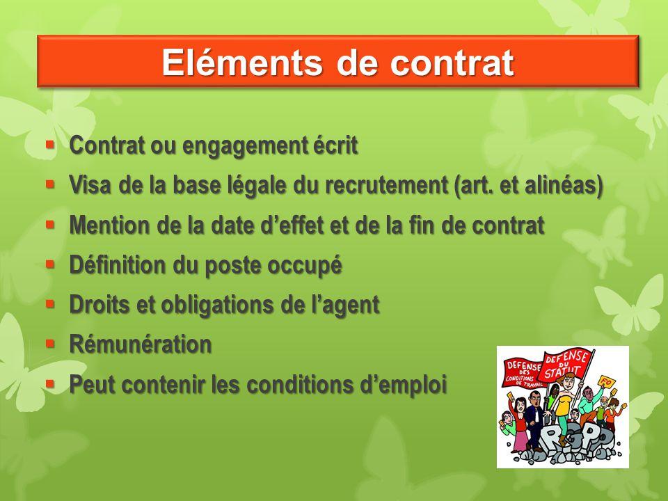 Eléments de contrat Contrat ou engagement écrit Contrat ou engagement écrit Visa de la base légale du recrutement (art. et alinéas) Visa de la base lé