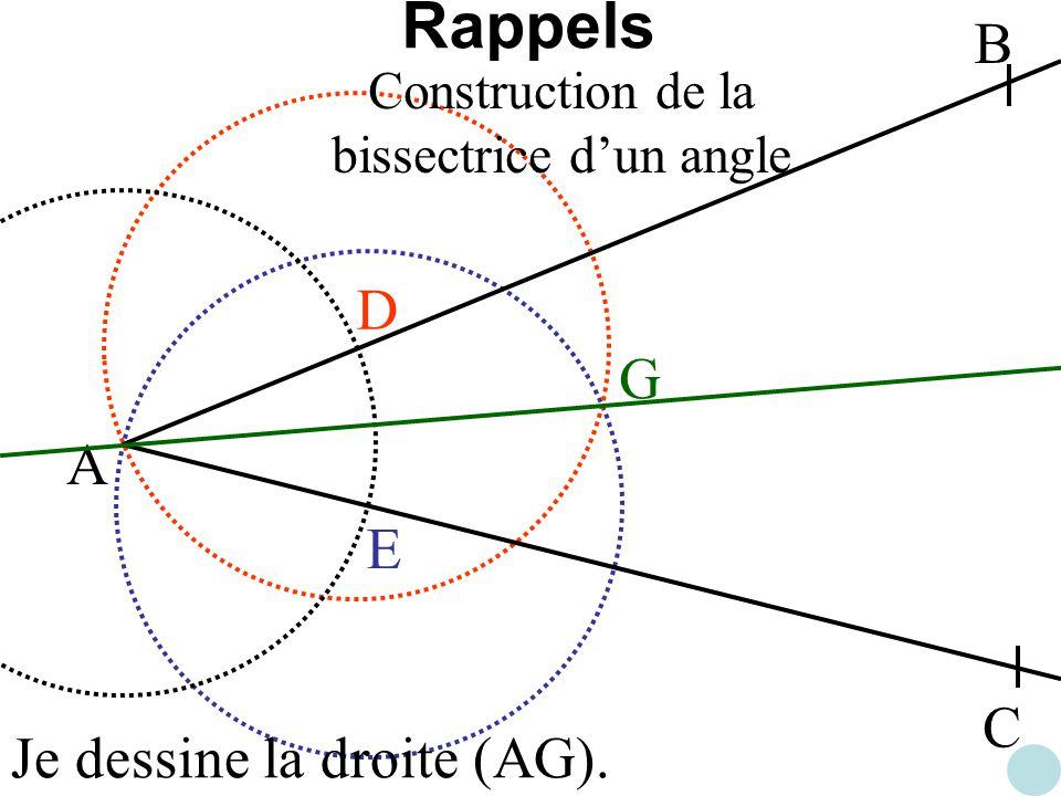 A B C D E G Je dessine la droite (AG). Construction de la bissectrice dun angle Rappels