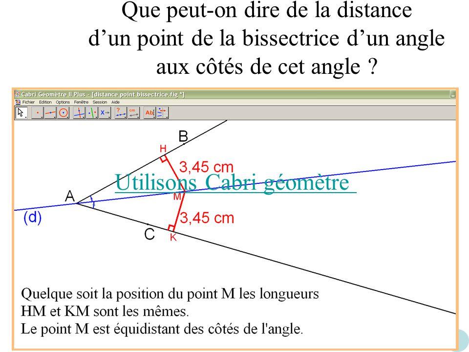 Que peut-on dire de la distance dun point de la bissectrice dun angle aux côtés de cet angle ? Utilisons Cabri géomètre