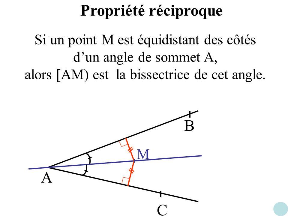 Propriété réciproque A B C Si un point M est équidistant des côtés dun angle de sommet A, alors [AM) est la bissectrice de cet angle. M