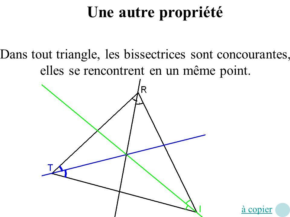 Une autre propriété Dans tout triangle, les bissectrices sont concourantes, elles se rencontrent en un même point. à copier