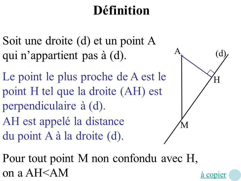 (d) A H M Définition Soit une droite (d) et un point A qui nappartient pas à (d). Le point le plus proche de A est le point H tel que la droite (AH) e
