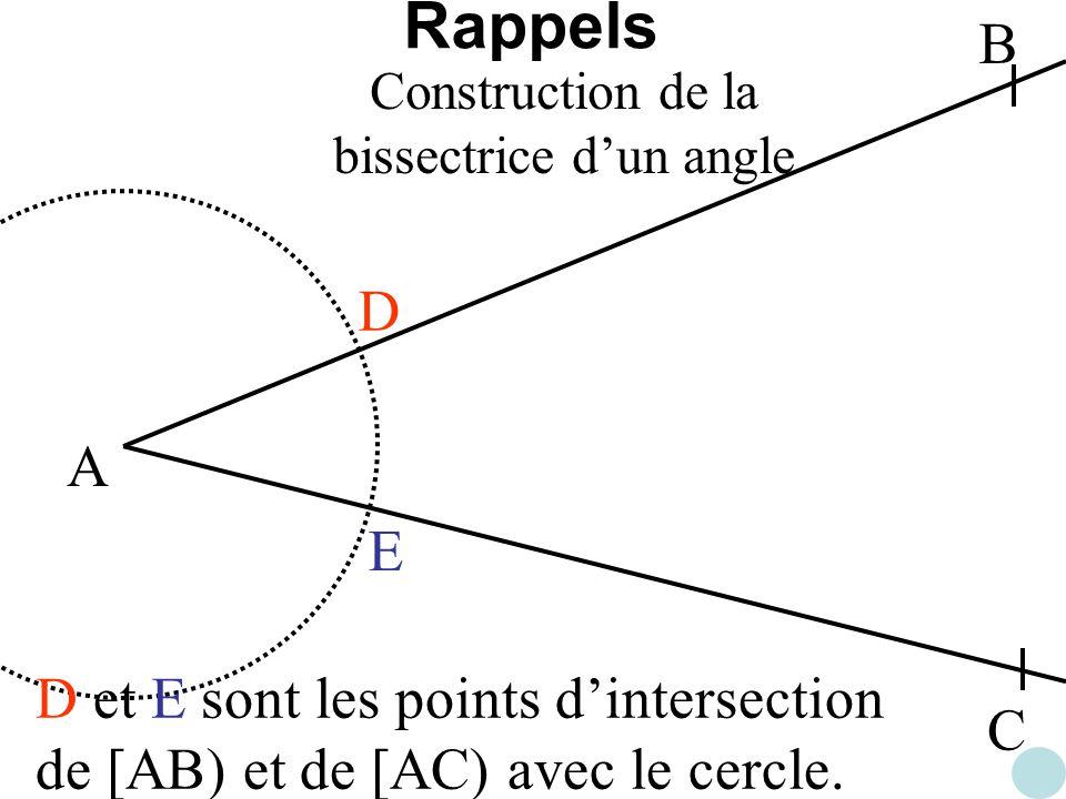 A B C D E D et E sont les points dintersection de [AB) et de [AC) avec le cercle. Construction de la bissectrice dun angle Rappels