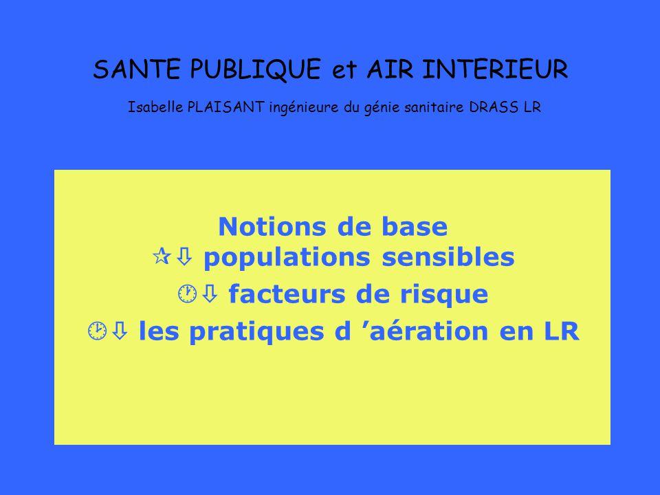 SANTE PUBLIQUE et AIR INTERIEUR Isabelle PLAISANT ingénieure du génie sanitaire DRASS LR Notions de base populations sensibles facteurs de risque les