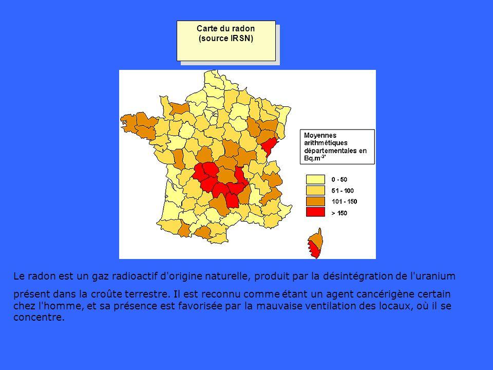 Carte du radon (source IRSN) Le radon est un gaz radioactif d'origine naturelle, produit par la désintégration de l'uranium présent dans la croûte ter