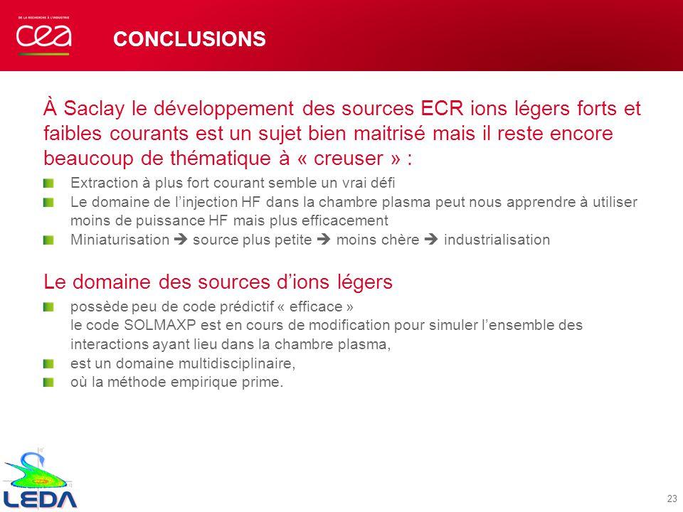 CONCLUSIONS À Saclay le développement des sources ECR ions légers forts et faibles courants est un sujet bien maitrisé mais il reste encore beaucoup d