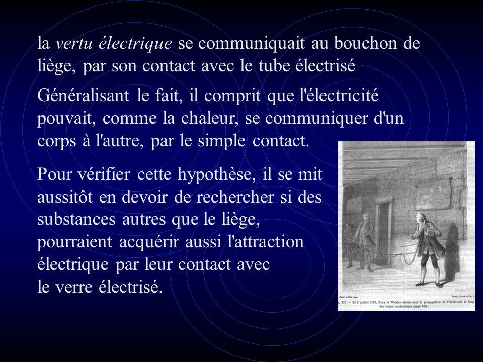 la vertu électrique se communiquait au bouchon de liège, par son contact avec le tube électrisé Généralisant le fait, il comprit que l électricité pouvait, comme la chaleur, se communiquer d un corps à l autre, par le simple contact.