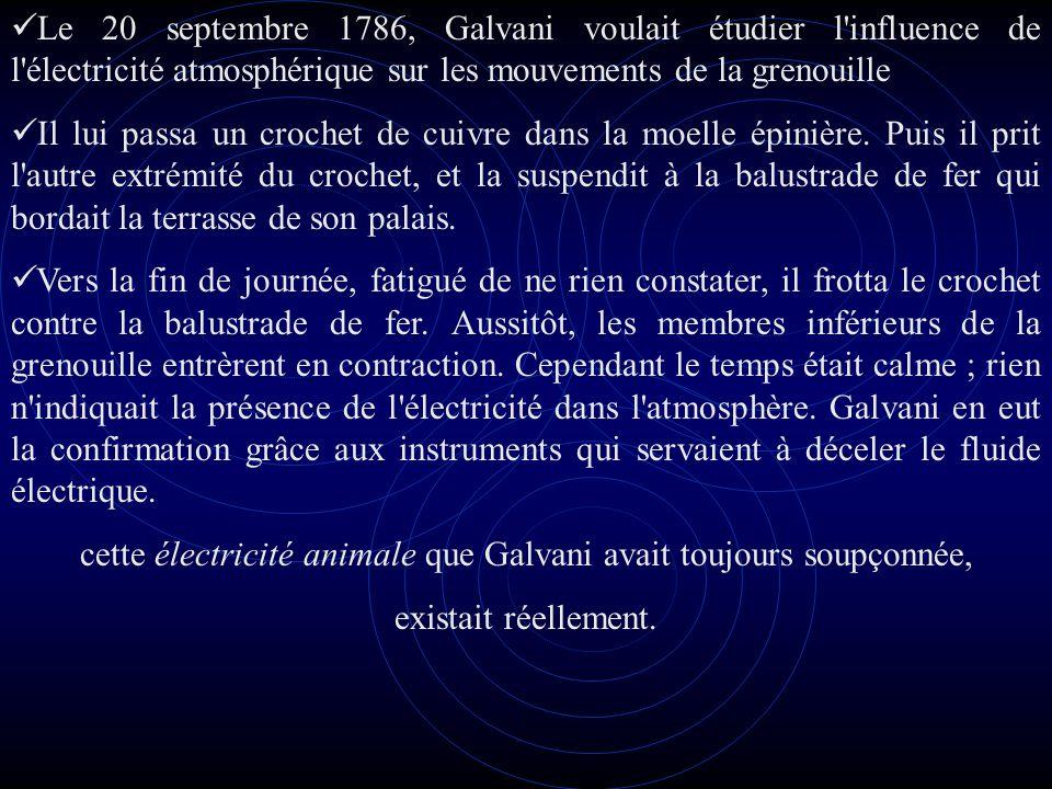 Le 20 septembre 1786, Galvani voulait étudier l influence de l électricité atmosphérique sur les mouvements de la grenouille Il lui passa un crochet de cuivre dans la moelle épinière.