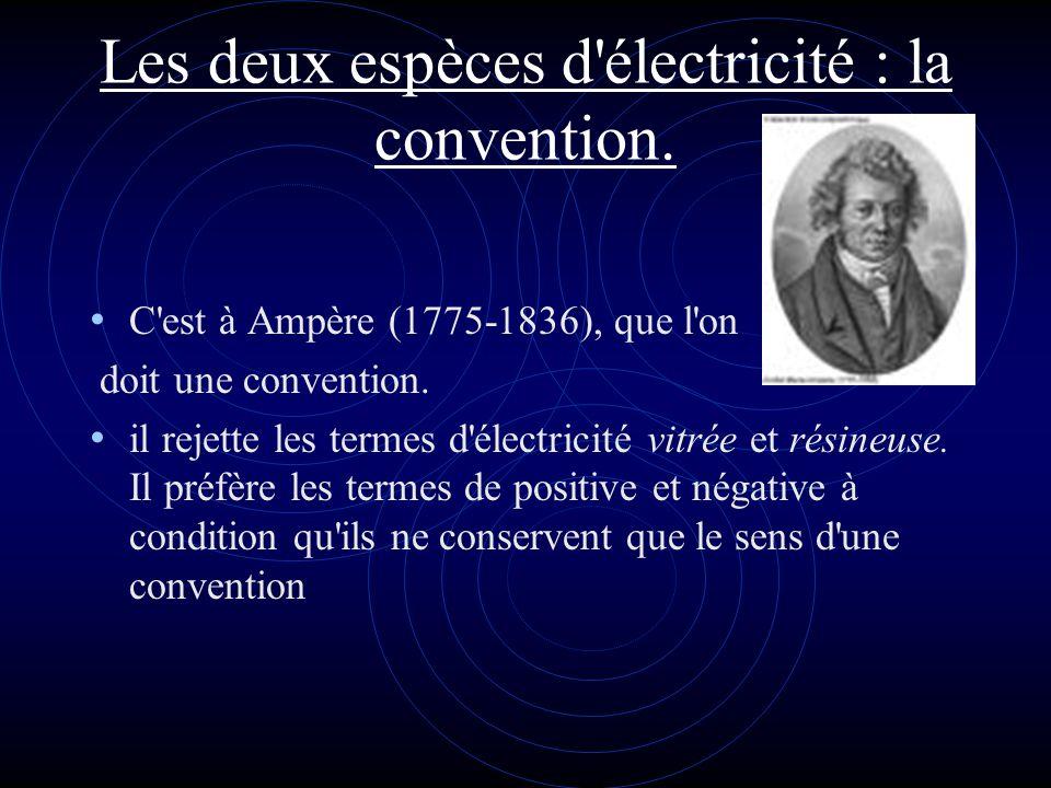 Les deux espèces d'électricité : la convention. C'est à Ampère (1775-1836), que l'on doit une convention. il rejette les termes d'électricité vitrée e