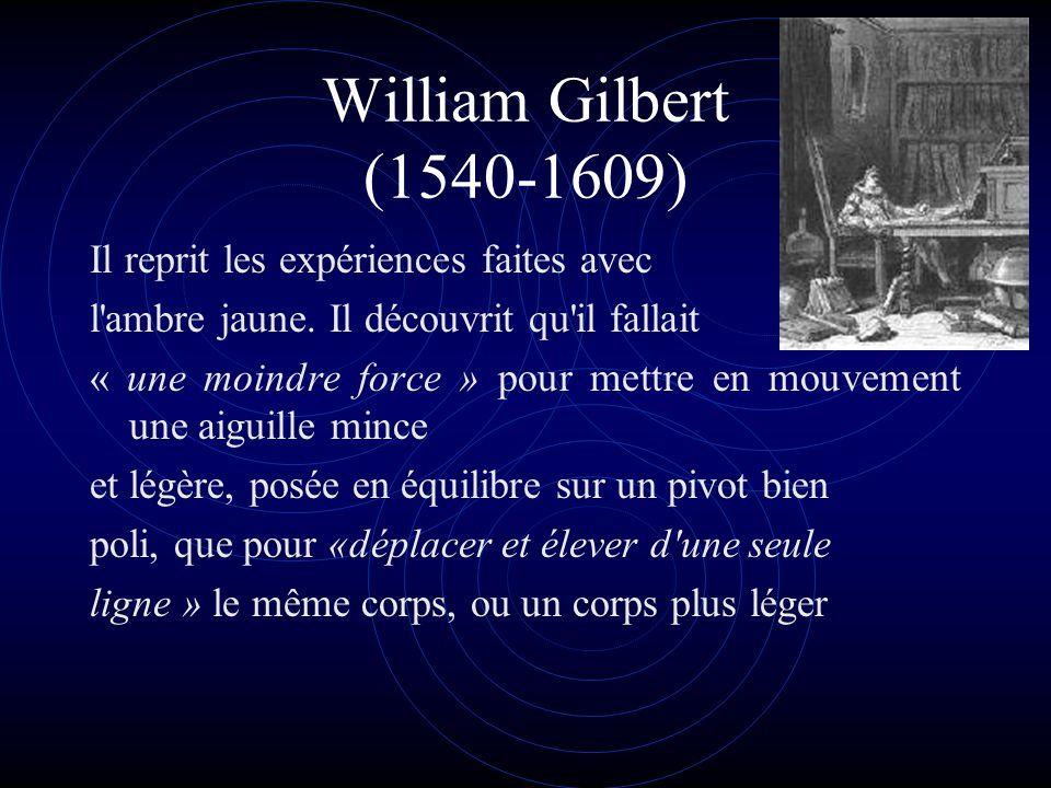 William Gilbert (1540-1609) Il reprit les expériences faites avec l'ambre jaune. Il découvrit qu'il fallait « une moindre force » pour mettre en mouve