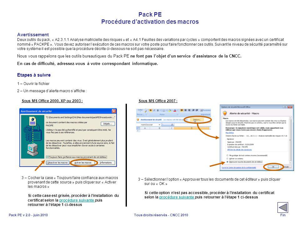 Tous droits réservés - CNCC 2010Pack PE v 2.0 - juin 2010 Pack PE Procédure dactivation des macros Avertissement Deux outils du pack, « A2.3.1.1 Analy
