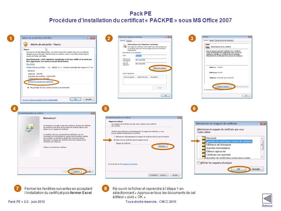 Tous droits réservés - CNCC 2010Pack PE v 2.0 - juin 2010 Pack PE Procédure dinstallation du certificat « PACKPE » sous MS Office 2007 123 456 7 Ferme