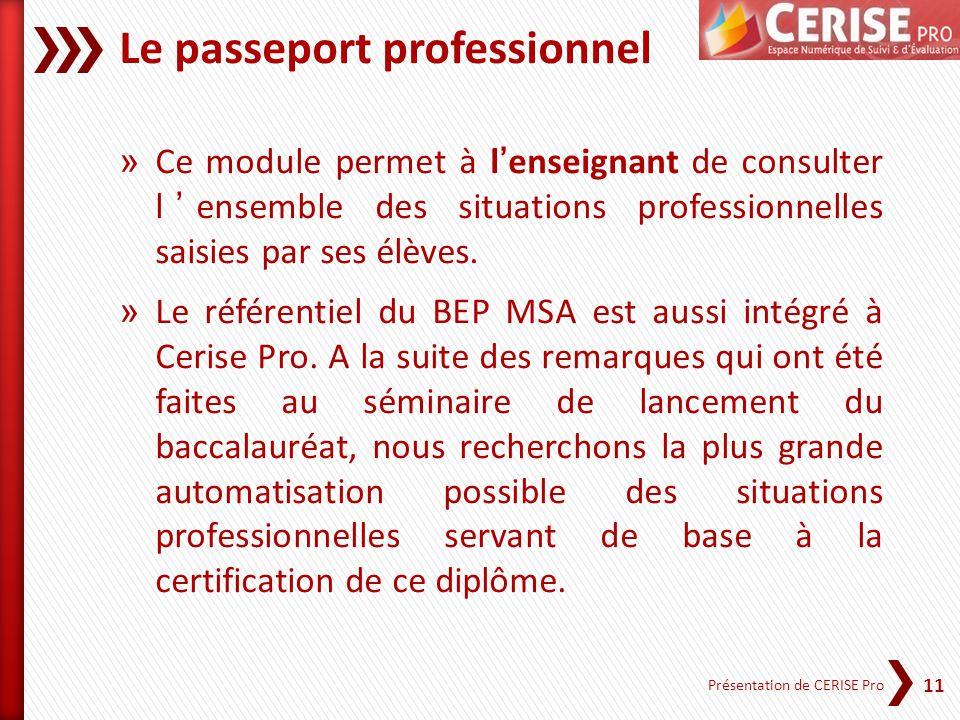 11 Présentation de CERISE Pro Le passeport professionnel » Ce module permet à lenseignant de consulter lensemble des situations professionnelles saisi