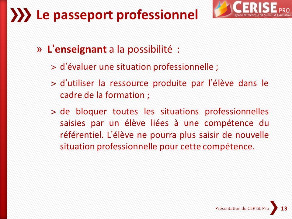 13 Présentation de CERISE Pro Le passeport professionnel » Lenseignant a la possibilité : ˃dévaluer une situation professionnelle ; ˃dutiliser la ress