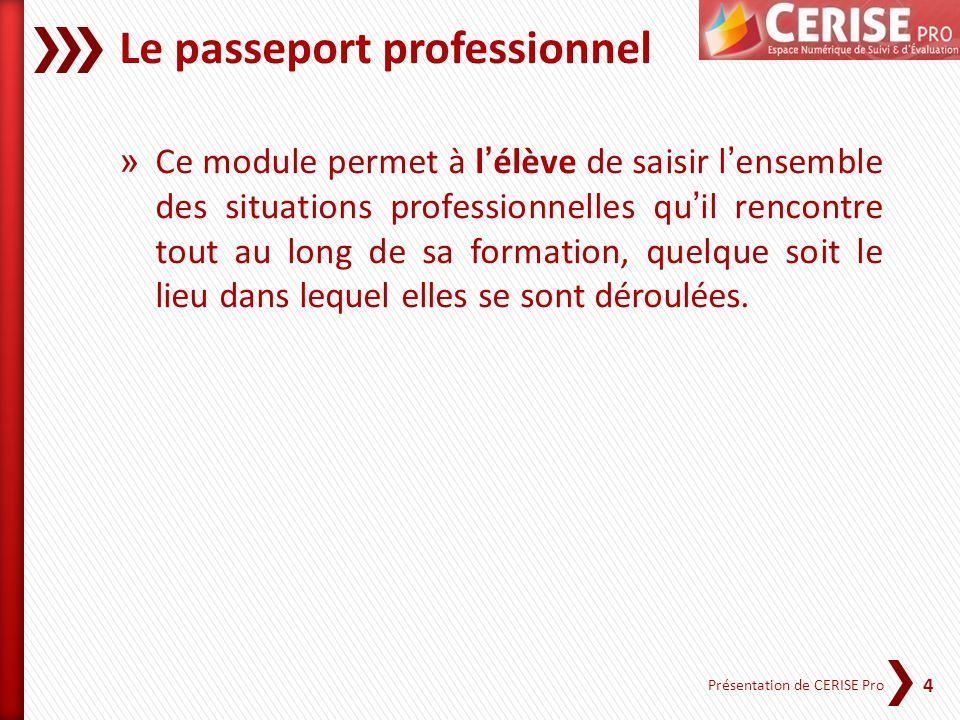 4 Présentation de CERISE Pro Le passeport professionnel » Ce module permet à lélève de saisir lensemble des situations professionnelles quil rencontre