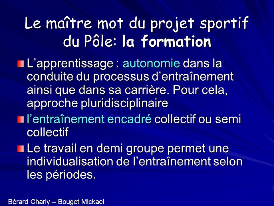 Le maître mot du projet sportif du Pôle: la formation Lapprentissage : autonomie dans la conduite du processus dentraînement ainsi que dans sa carrière.