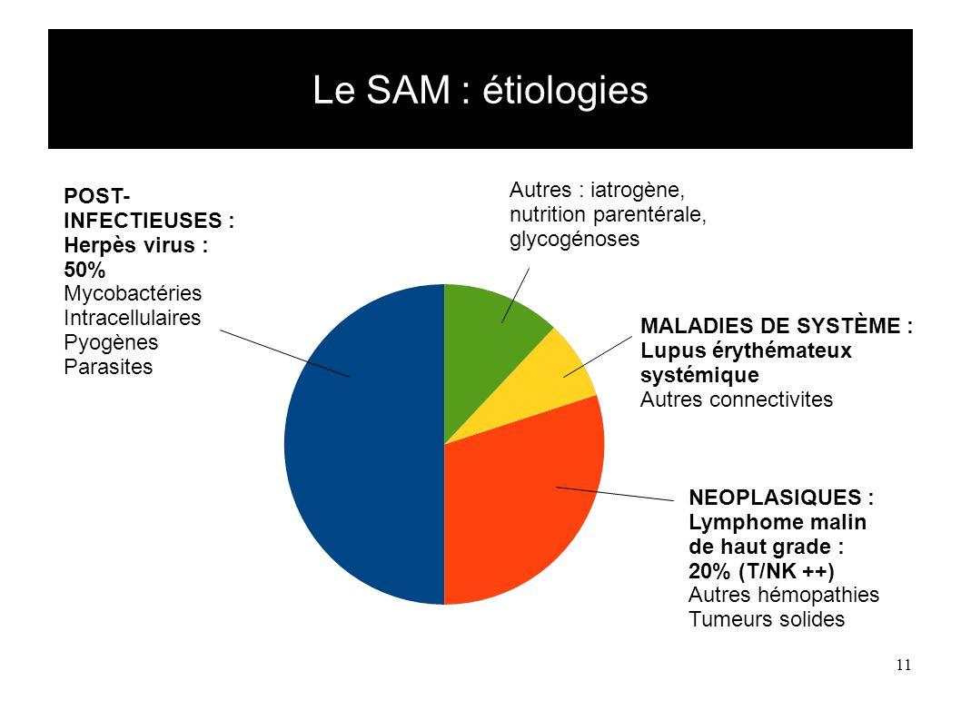 11 Le SAM : étiologies POST- INFECTIEUSES : Herpès virus : 50% Mycobactéries Intracellulaires Pyogènes Parasites NEOPLASIQUES : Lymphome malin de haut grade : 20% (T/NK ++) Autres hémopathies Tumeurs solides MALADIES DE SYSTÈME : Lupus érythémateux systémique Autres connectivites Autres : iatrogène, nutrition parentérale, glycogénoses