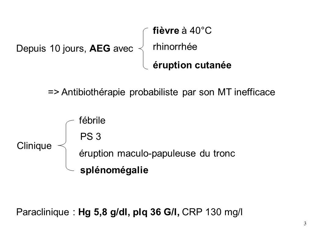 3 Depuis 10 jours, AEG avec => Antibiothérapie probabiliste par son MT inefficace Paraclinique : Hg 5,8 g/dl, plq 36 G/l, CRP 130 mg/l fièvre à 40°C rhinorrhée éruption cutanée fébrile PS 3 éruption maculo-papuleuse du tronc splénomégalie Clinique