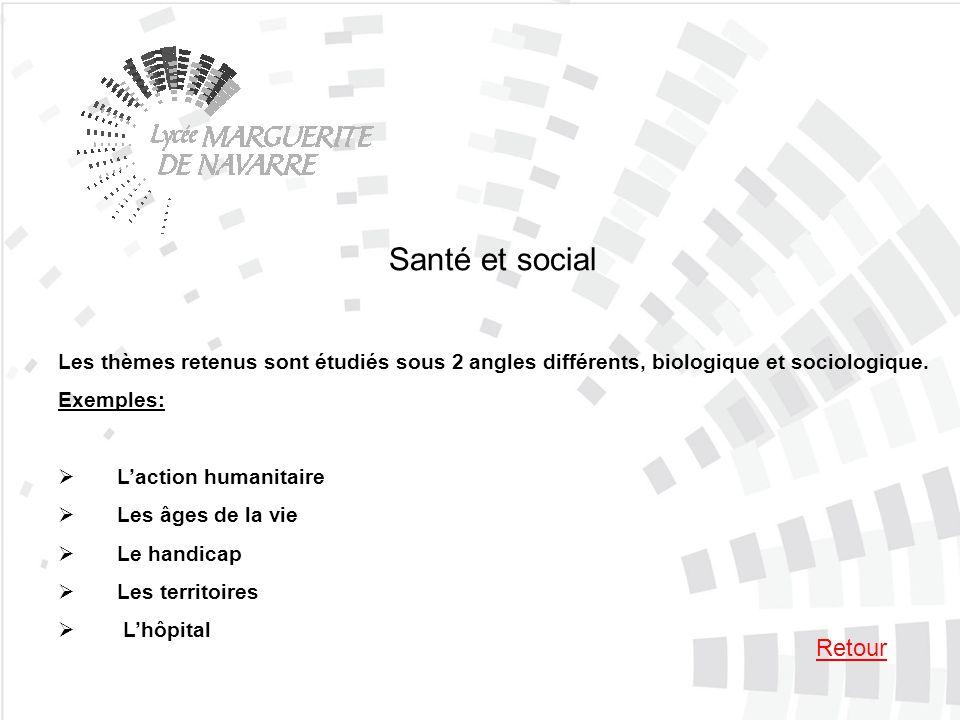 Santé et social Les thèmes retenus sont étudiés sous 2 angles différents, biologique et sociologique. Exemples: Laction humanitaire Les âges de la vie