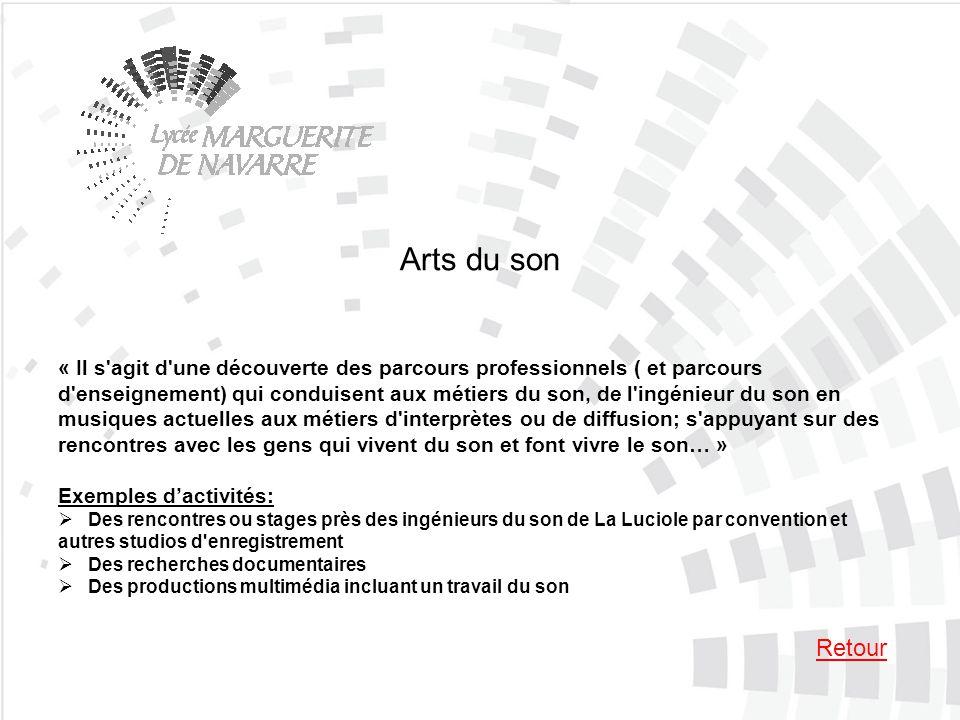 Arts du son « Il s'agit d'une découverte des parcours professionnels ( et parcours d'enseignement) qui conduisent aux métiers du son, de l'ingénieur d