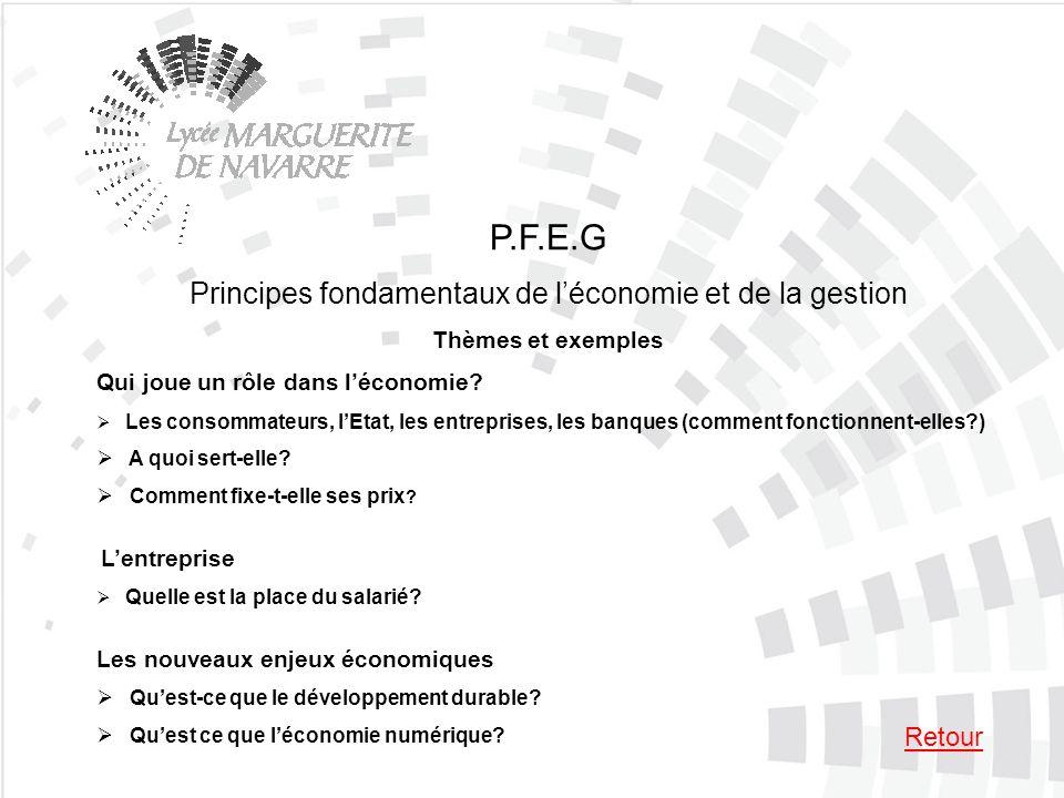 P.F.E.G Principes fondamentaux de léconomie et de la gestion Thèmes et exemples Qui joue un rôle dans léconomie? Les consommateurs, lEtat, les entrepr