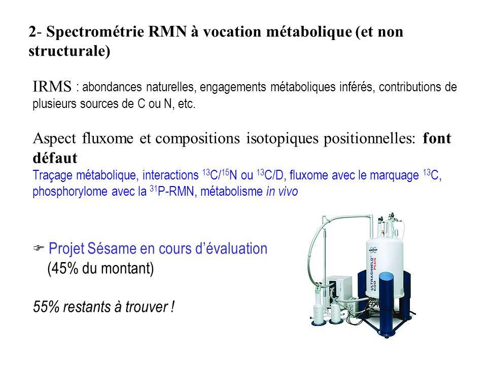 2- Spectrométrie RMN à vocation métabolique (et non structurale) IRMS : abondances naturelles, engagements métaboliques inférés, contributions de plusieurs sources de C ou N, etc.