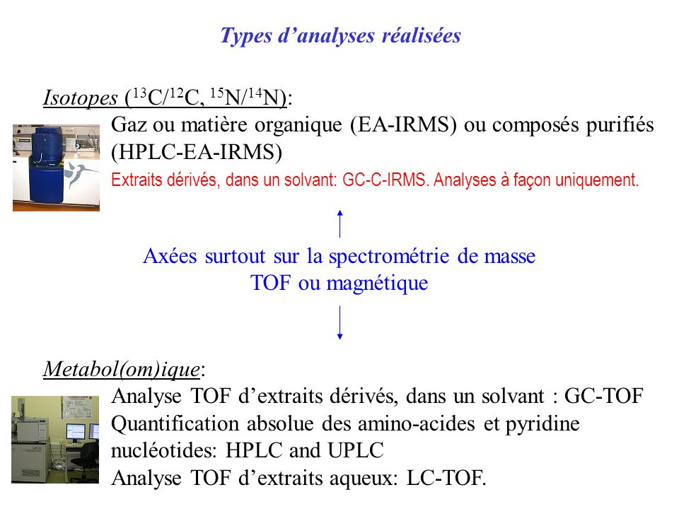 Types danalyses réalisées Isotopes ( 13 C/ 12 C, 15 N/ 14 N): Gaz ou matière organique (EA-IRMS) ou composéspurifiés (HPLC-EA-IRMS) Extraits dérivés, dans un solvant: GC-C-IRMS.