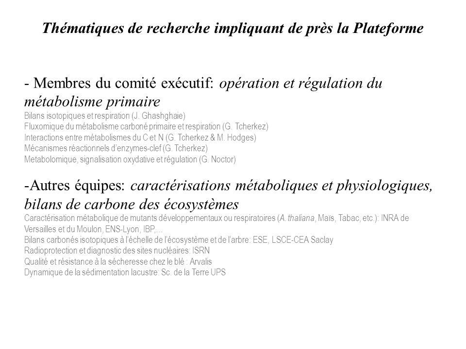 Thématiques de recherche impliquant de près la Plateforme - Membres du comité exécutif: opération et régulation du métabolisme primaire Bilans isotopiques et respiration (J.