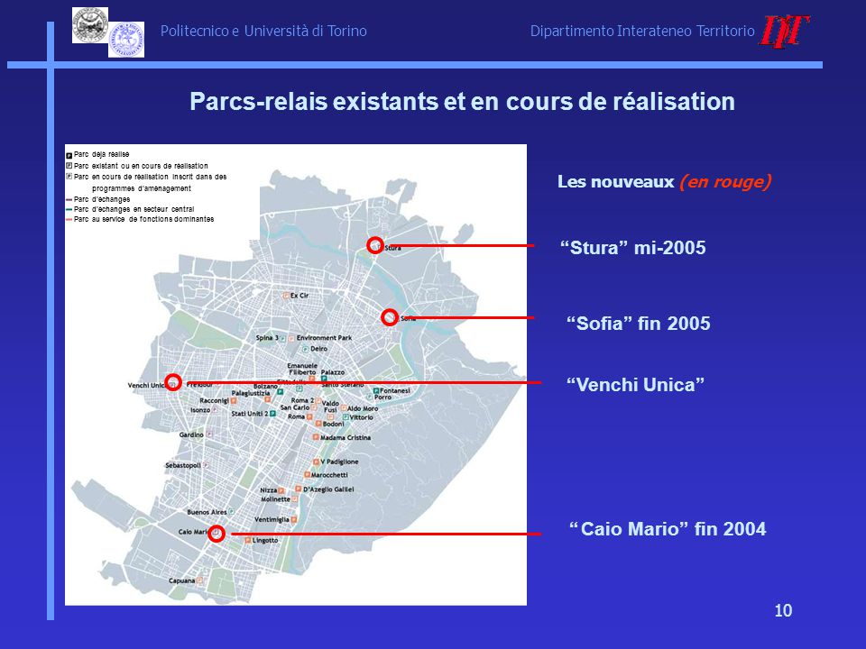 Politecnico e Università di Torino Dipartimento Interateneo Territorio 10 Parcs-relais existants et en cours de réalisation Stura mi-2005 Caio Mario f