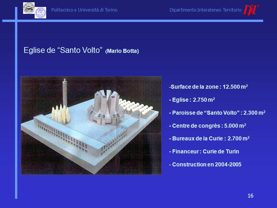 Politecnico e Università di Torino Dipartimento Interateneo Territorio 16 Eglise de Santo Volto ( Mario Botta) -Surface de la zone : 12.500 m 2 - Egli