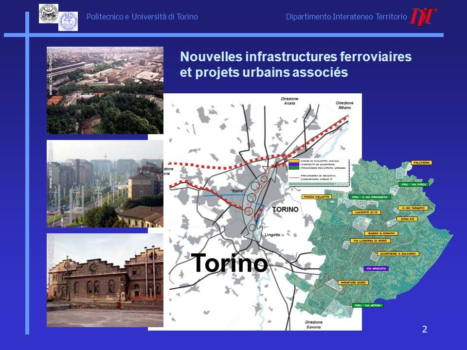 Politecnico e Università di Torino Dipartimento Interateneo Territorio 2 Torino Nouvelles infrastructures ferroviaires et projets urbains associés
