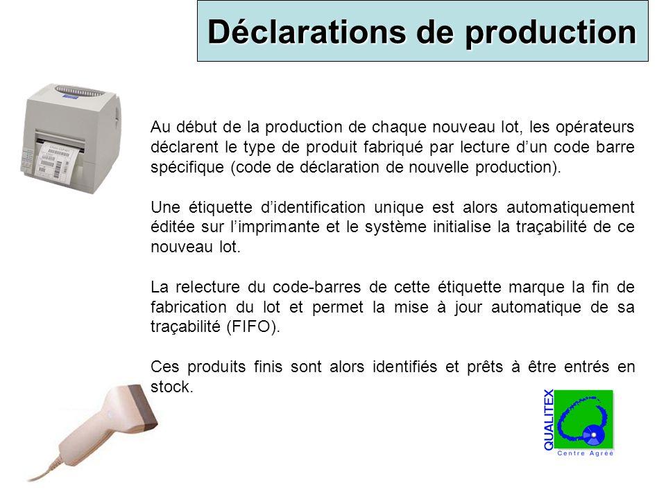 Déclarations de production Au début de la production de chaque nouveau lot, les opérateurs déclarent le type de produit fabriqué par lecture dun code
