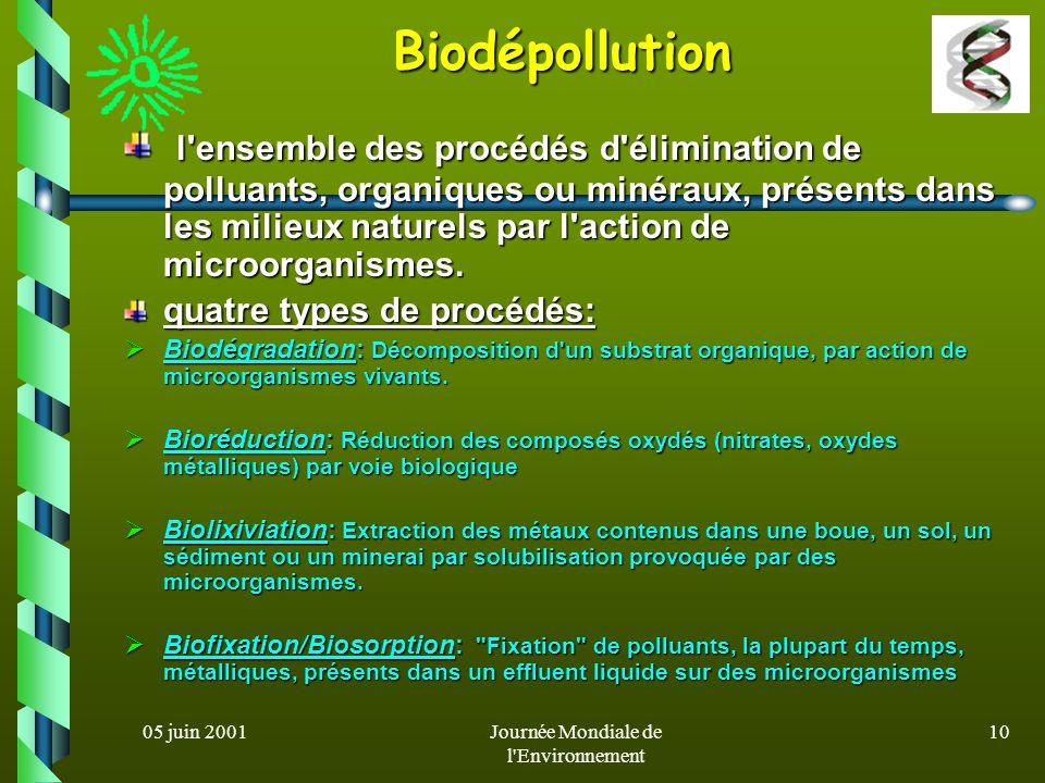 05 juin 2001Journée Mondiale de l'Environnement 9 Les bioprocédés de dépollution sont plus intéressants que les techniques physico-chimiques dans la m