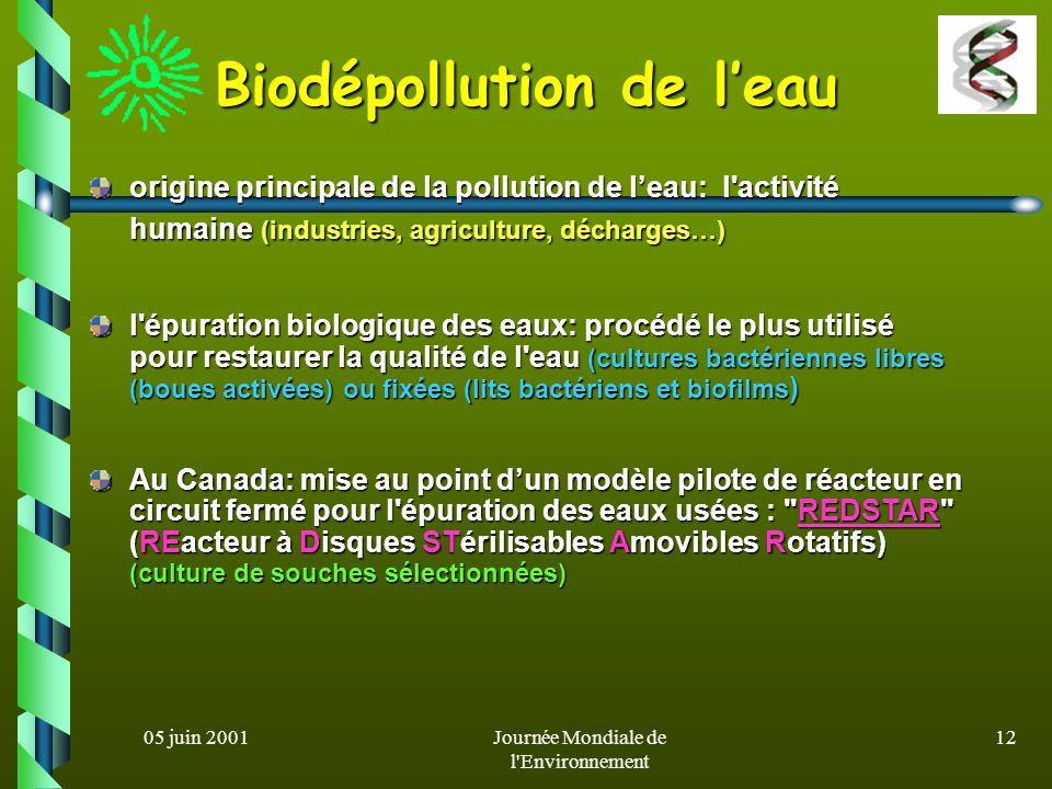 05 juin 2001Journée Mondiale de l Environnement 11 métaux substances organiques composés chimiques - essentiels à la vie à très faibles doses - les hydrocarbures pétroliers (oligoéléments= Na, K, Mn, Ca…), (gasoils, fuels, essences, kérosènes…) car ils sont impliqués dans le métabolisme car ils sont impliqués dans le métabolisme cellulaire - déchets de l exploitation du pétrole (boues et résidus d huiles[goudrons ) - non essentiels à la vie, métaux lourds (boues et résidus d huiles[goudrons ) - non essentiels à la vie, métaux lourds (Cd, Hg, Al et Pb) généralement - résidus organiques de l industrie (Cd, Hg, Al et Pb) généralement - résidus organiques de l industrie présents à l état de trace dans la chimique (alcools, acides …) présents à l état de trace dans la chimique (alcools, acides …) biosphère biosphère - composés organiques halogénés - composés organiques halogénés (herbicides, fongicides, insecticides (herbicides, fongicides, insecticides Types de polluants