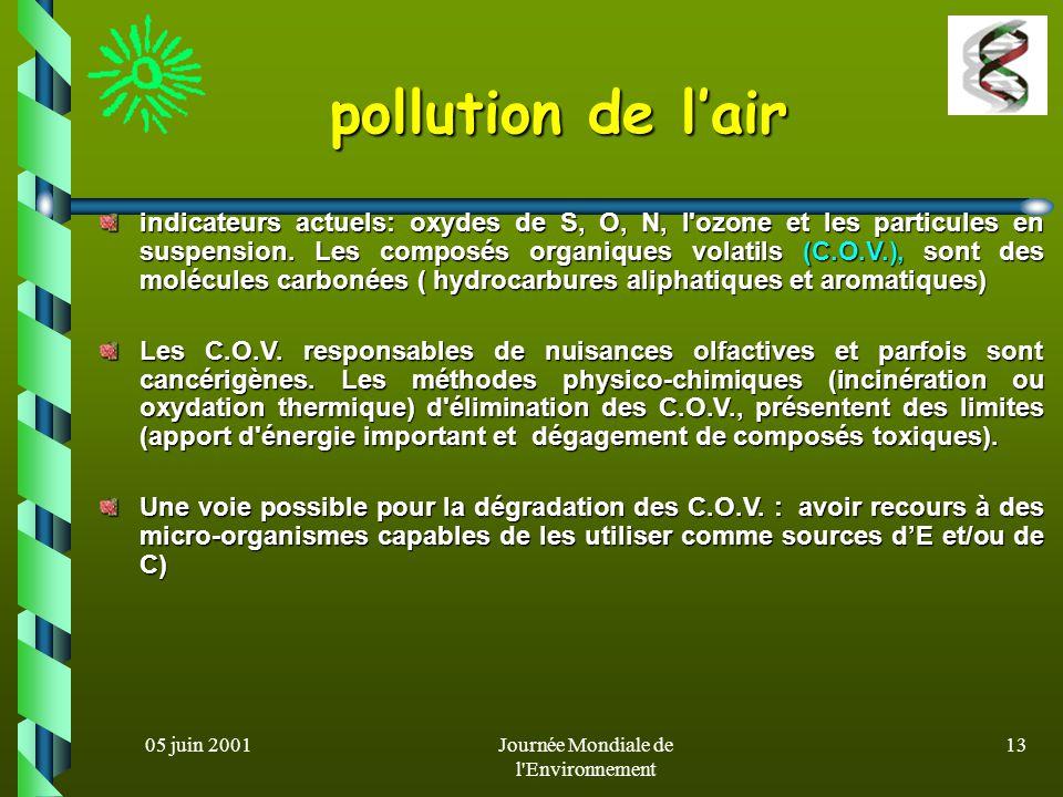 05 juin 2001Journée Mondiale de l Environnement 12 Biodépollution de leau origine principale de la pollution de leau: l activité humaine (industries, agriculture, décharges…) l épuration biologique des eaux: procédé le plus utilisé pour restaurer la qualité de l eau (cultures bactériennes libres (boues activées) ou fixées (lits bactériens et biofilms ) Au Canada: mise au point dun modèle pilote de réacteur en circuit fermé pour l épuration des eaux usées : REDSTAR (REacteur à Disques STérilisables Amovibles Rotatifs) (culture de souches sélectionnées)