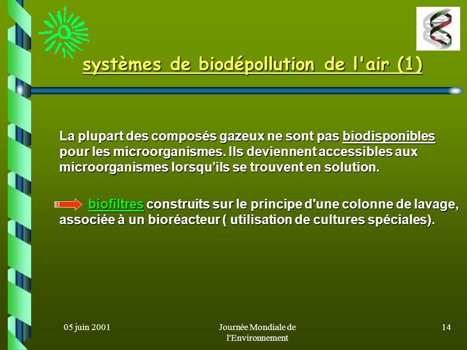 05 juin 2001Journée Mondiale de l Environnement 13 pollution de lair indicateurs actuels: oxydes de S, O, N, l ozone et les particules en suspension.