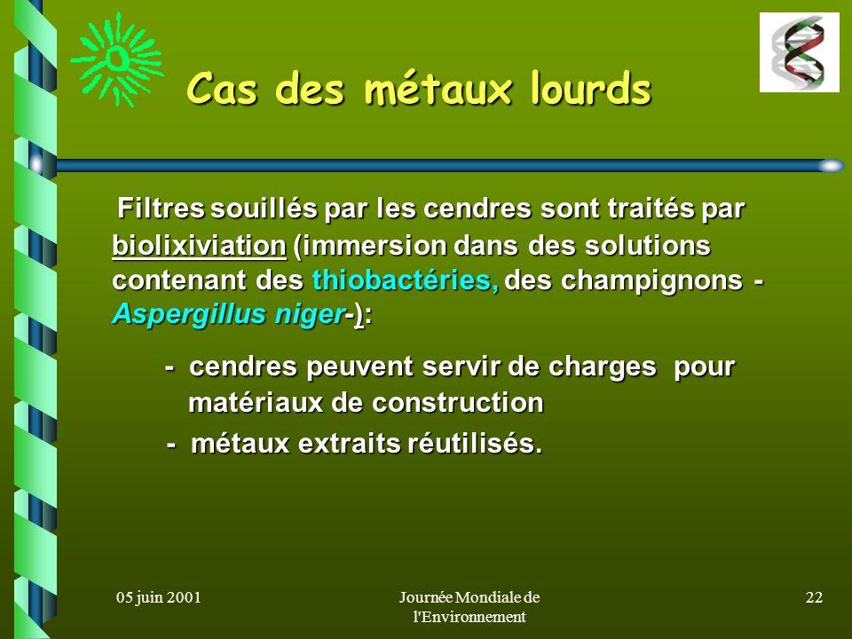 05 juin 2001Journée Mondiale de l'Environnement 21 Un exemple au Canada Un exemple au Canada Pile de sol contaminé Tuyau daération