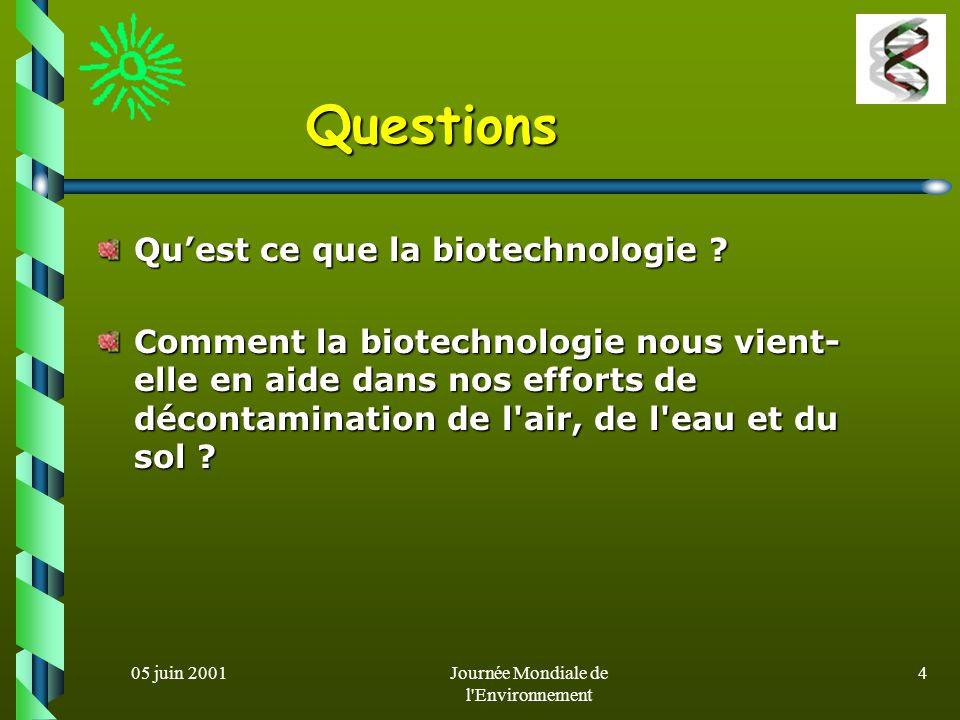 05 juin 2001Journée Mondiale de l Environnement 14 systèmes de biodépollution de l air (1) La plupart des composés gazeux ne sont pas biodisponibles pour les microorganismes.