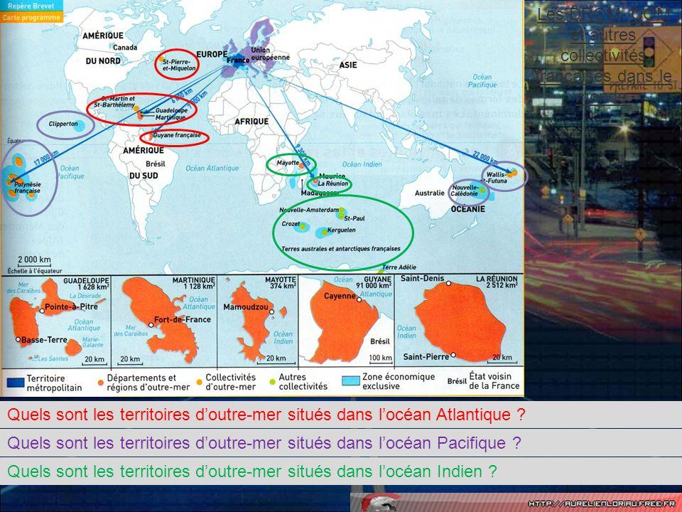 La France sétend au-delà du continent européen grâce aux territoires ultramarins.