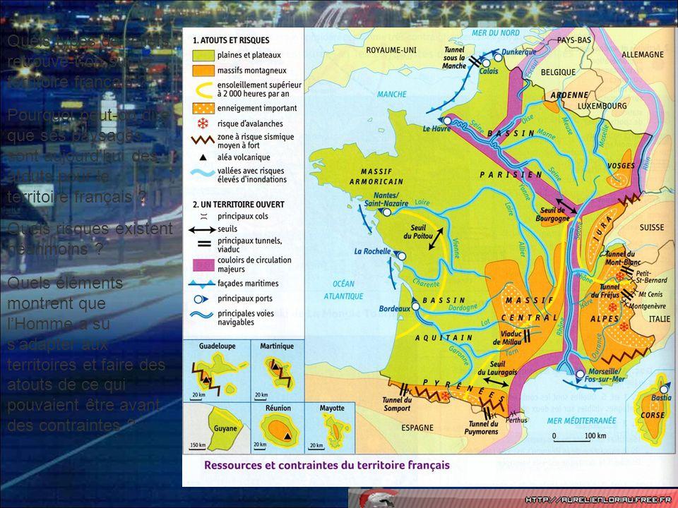 La France dispose dun relief varié (plaines, plateaux, montagnes) mis en valeur par lHomme à travers ses activités.