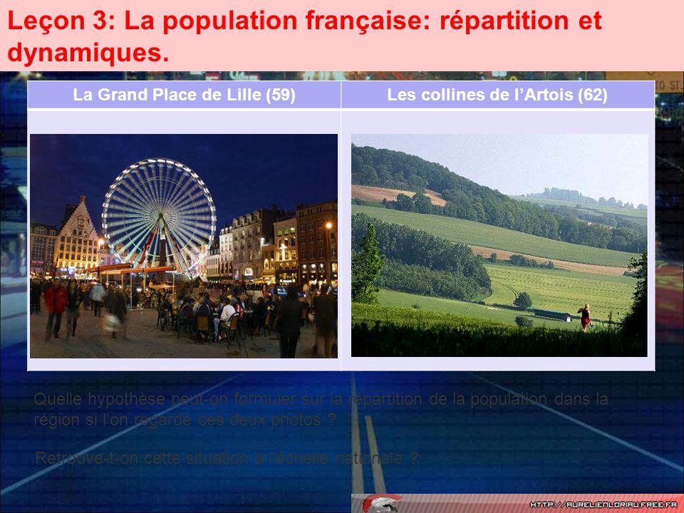 A) La répartition de la population sur le territoire national.