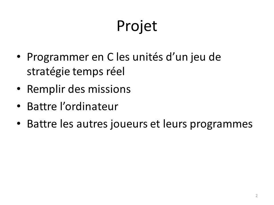 Projet Programmer en C les unités dun jeu de stratégie temps réel Remplir des missions Battre lordinateur Battre les autres joueurs et leurs programme