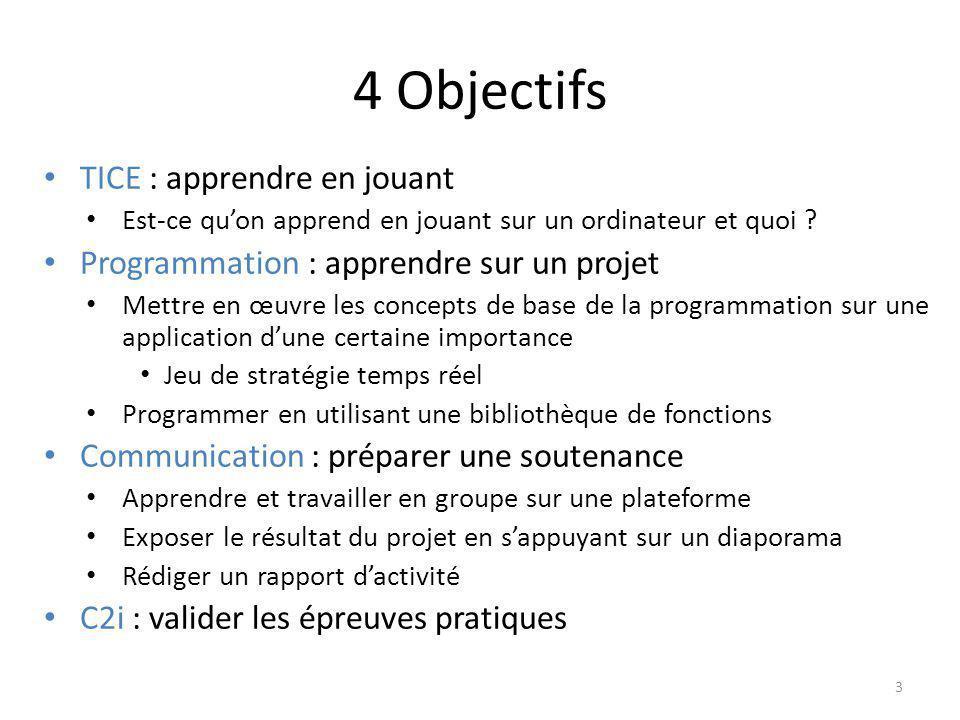 Prog&Play Logiciel développé par Mathieu Muratet (IRIT, LIP6) http://www.irit.fr/ProgAndPlay/http://www.irit.fr/ProgAndPlay/ Principe – Jeu de stratégie temps réel – Contrôler les unités par la programmation pour être meilleur que ses adversaires o Langages : C, C++, java, Ada, Ocaml, algorithmique 4