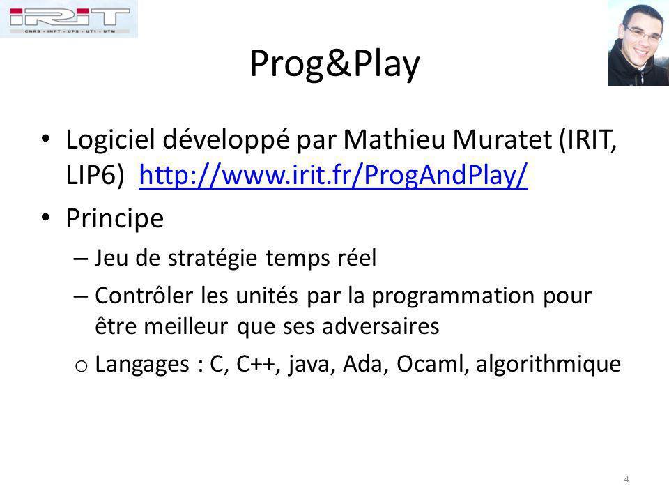 Prog&Play Logiciel développé par Mathieu Muratet (IRIT, LIP6) http://www.irit.fr/ProgAndPlay/http://www.irit.fr/ProgAndPlay/ Principe – Jeu de stratég