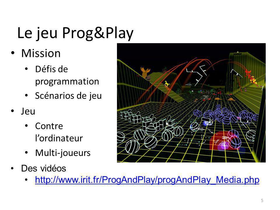 Le jeu Prog&Play Mission Défis de programmation Scénarios de jeu Jeu Contre lordinateur Multi-joueurs 5 Des vidéos http://www.irit.fr/ProgAndPlay/prog