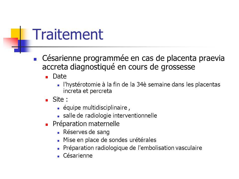 Traitement Césarienne programmée en cas de placenta praevia accreta diagnostiqué en cours de grossesse Date l'hystérotomie à la fin de la 34è semaine